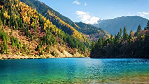 Фото Цзючжайгоу парк Китай Парки Озеро Осень Горы Лес Пейзаж