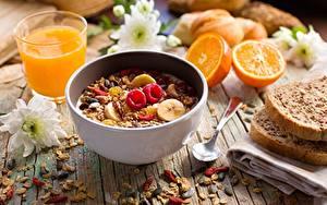 Фотографии Мюсли Завтрак Ложка Пища