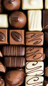 Картинки Сладости Конфеты Шоколад Вблизи Продукты питания