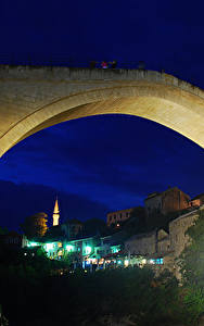 Картинки Босния и Герцеговина Мосты Дома Ночь Old Bridge Mostar Города