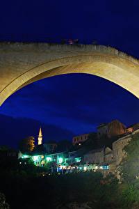 Картинки Босния и Герцеговина Мосты Дома Ночь Old Bridge Mostar Города