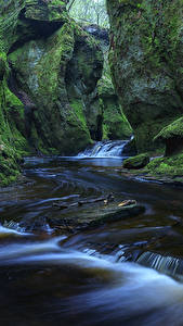 Фото Шотландия Водопады Утес Мох Finnich Glen Природа