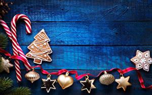 Фотография Новый год Сладости Печенье Доски Дизайн Лента Снежинка Пища