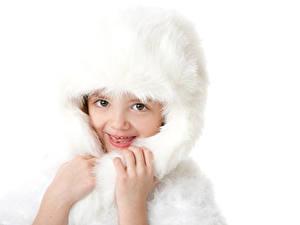 Фотографии Белый фон Девочки Шапки Руки Смотрит Ребёнок
