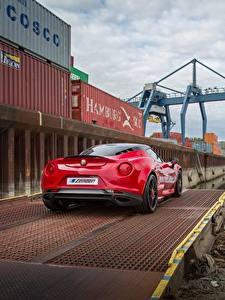 Обои Alfa Romeo Красная Вид сзади 4C машины