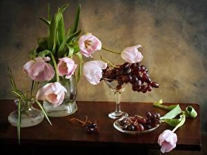 Фотографии Натюрморт Букет Тюльпаны Виноград Стола Вазе Цветы