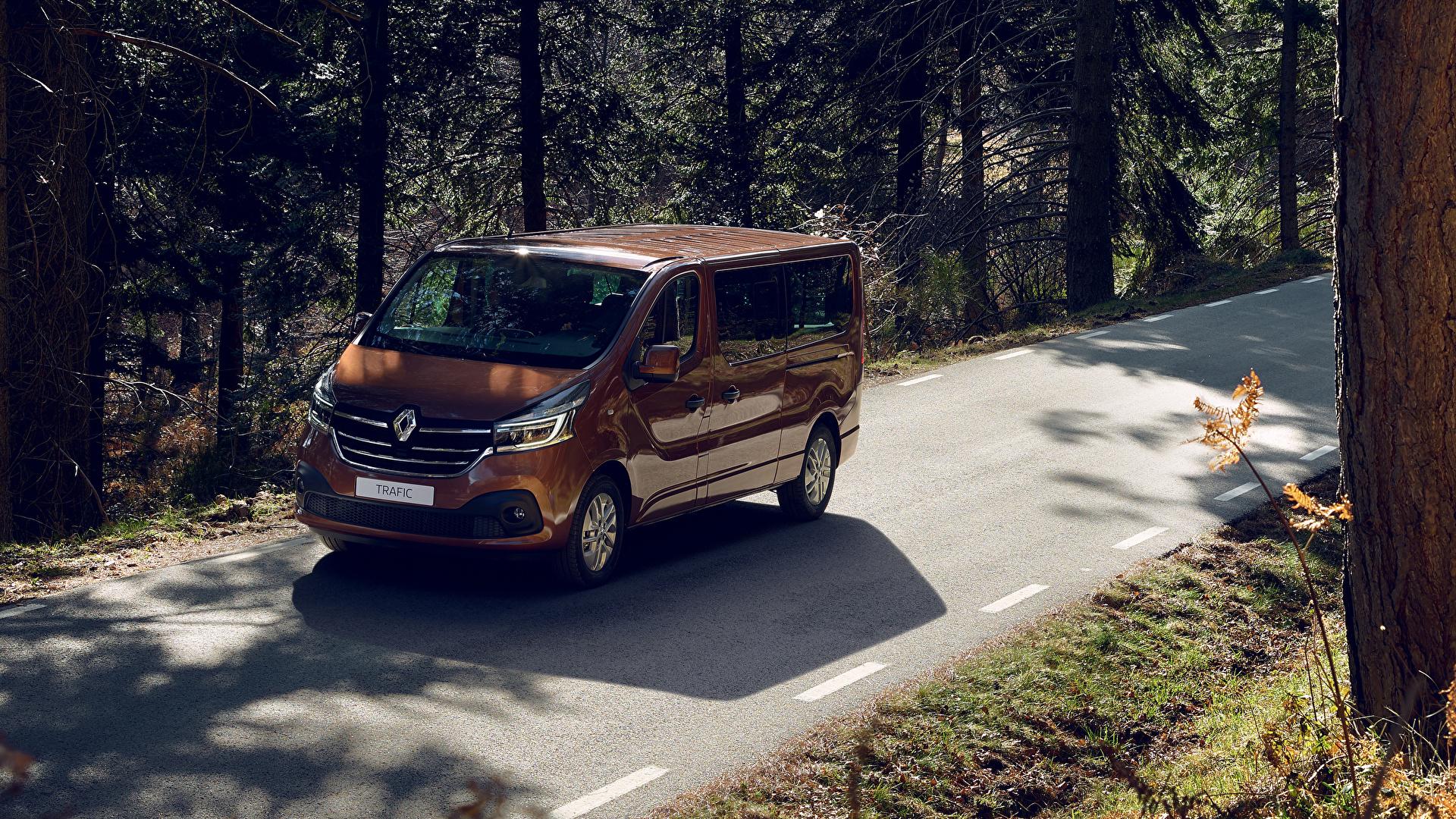 Обои для рабочего стола Рено 2019 Trafic Minibus LWB Worldwide Коричневый машины Металлик 1920x1080 Renault коричневая коричневые авто машина автомобиль Автомобили
