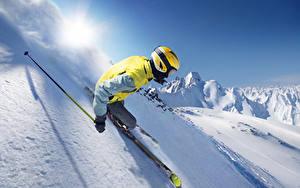 Обои Зима Лыжный спорт Снег Шлем Едущий Спорт