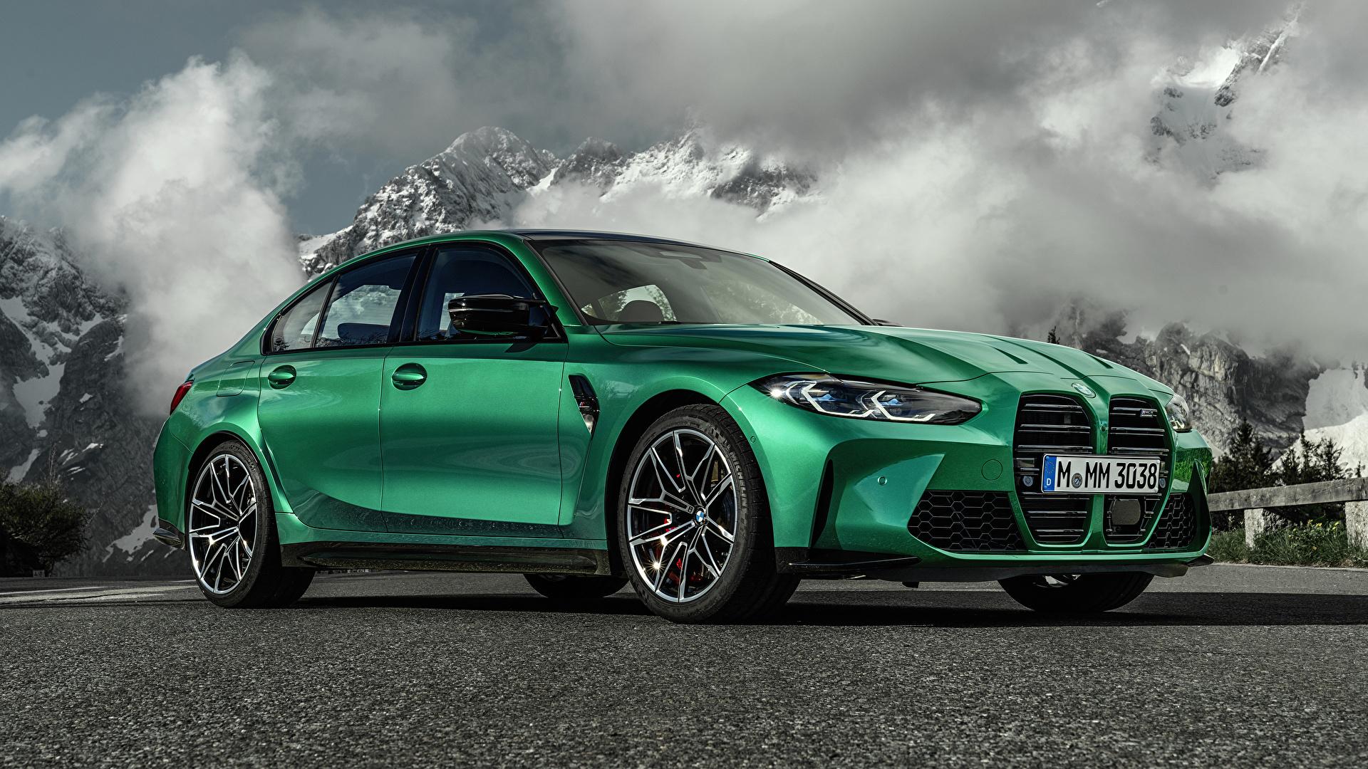 Фотографии БМВ M3 Competition, (G80), 2020 Зеленый Металлик Автомобили 1920x1080 BMW зеленая зеленые зеленых авто машины машина автомобиль