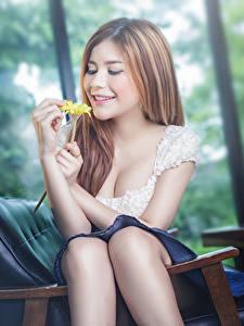 Картинки Азиаты Шатенка Улыбка Руки Сидит Размытый фон молодые женщины