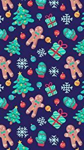Фотографии Рождество Текстура Печенье Новогодняя ёлка Подарок