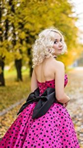 Фотографии Осень Размытый фон Блондинки Смотрит Бантик
