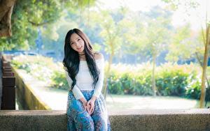 Фотографии Азиатка Боке Смотрят Брюнетка Сидит девушка
