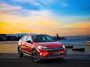 Фотографии Фольксваген Красные Металлик 2020 Nivus Highline 200 TSI Launching Edition Latam Автомобили