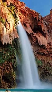 Фотографии США Гранд-Каньон парк Парки Водопады Утес Мох Природа