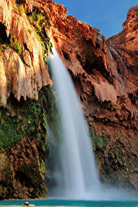 Фотографии США Гранд-Каньон парк Парк Водопады Утес Мхом Природа