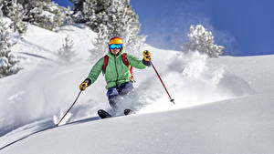 Фотографии Зимние Лыжный спорт Мужчины Снег Спорт