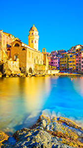 Фотография Лигурия Вернацца Чинкве-Терре парк Здания Море Италия Города