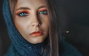 Обои Глаза Лицо Взгляд Мейкап Нос Alexander Drobkov Eva Lapenko Девушки