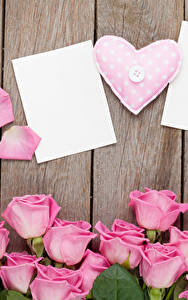 Фотографии День всех влюблённых Роза Доски Шаблон поздравительной открытки Розовый Сердце цветок
