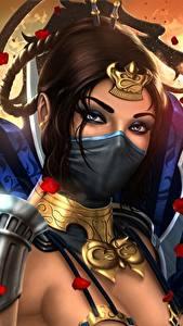Картинка Mortal Kombat Воины Маски Взгляд Красивая Kitana Игры Девушки Фэнтези