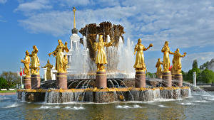 Картинки Россия Москва Парк Скульптура Фонтаны Fountain Friendship of peoples Города