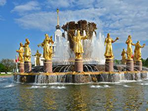 Картинки Россия Москва Парк Скульптуры Фонтаны Fountain Friendship of peoples Города