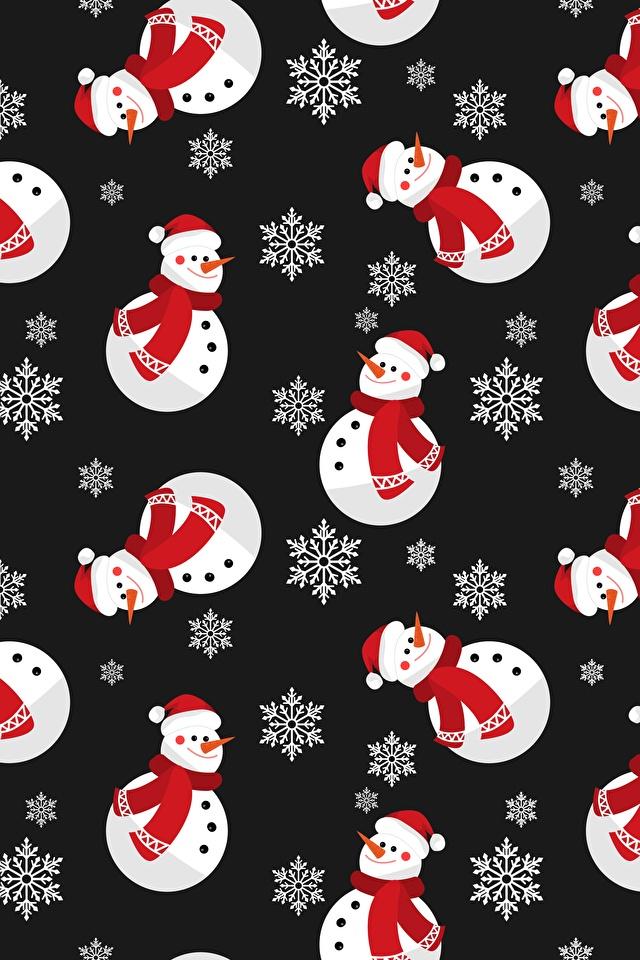 Фотография Текстура Новый год Снежинки Снеговики Черный фон 640x960 Рождество снежинка снеговик снеговика на черном фоне