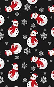 Фотография Рождество Текстура Снеговики Снежинки Черный фон
