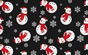 Фотография Новый год Текстура Снеговики Снежинки Черный фон