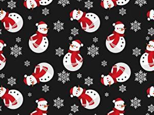 Фотография Новый год Текстура Снеговики Снежинки На черном фоне