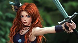 Обои Воители Рыжая Меч Красивая Волосы Майка Фэнтези