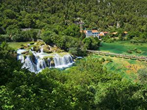 Фотография Хорватия Парк Водопады Леса Озеро Мосты Krka National Park