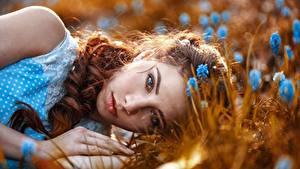 Фотография Лица Взгляд Лежит Волосы Рыжие Красивая молодые женщины
