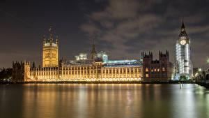 Обои Англия Дома Реки Лондон Биг-Бен Ночь
