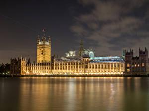 Обои Англия Дома Реки Лондон Биг-Бен Ночь город