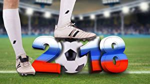 Фото Футбол 2018 Мяч Ноги Кроссовках спортивные