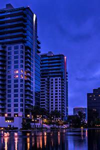 Фотография Штаты Здания Калифорния Ночные Залив Orange город