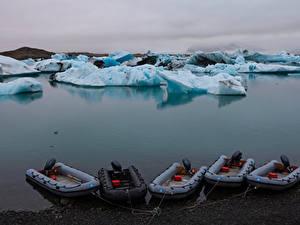 Фото Исландия Лодки Льда Залив Jokulsarlon Lagoon
