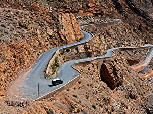 Картинки Марокко Горы Дороги Сверху Скале Gorges Dades Природа