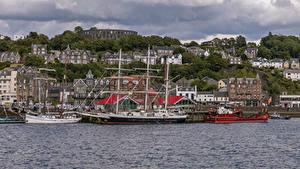 Фотография Корабль Парусные Пирсы Здания Шотландия Залива Oban город