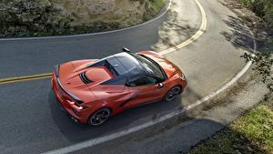 Фотография Дороги Шевроле Сверху Оранжевый Corvette Stingray 2020 C8 машина