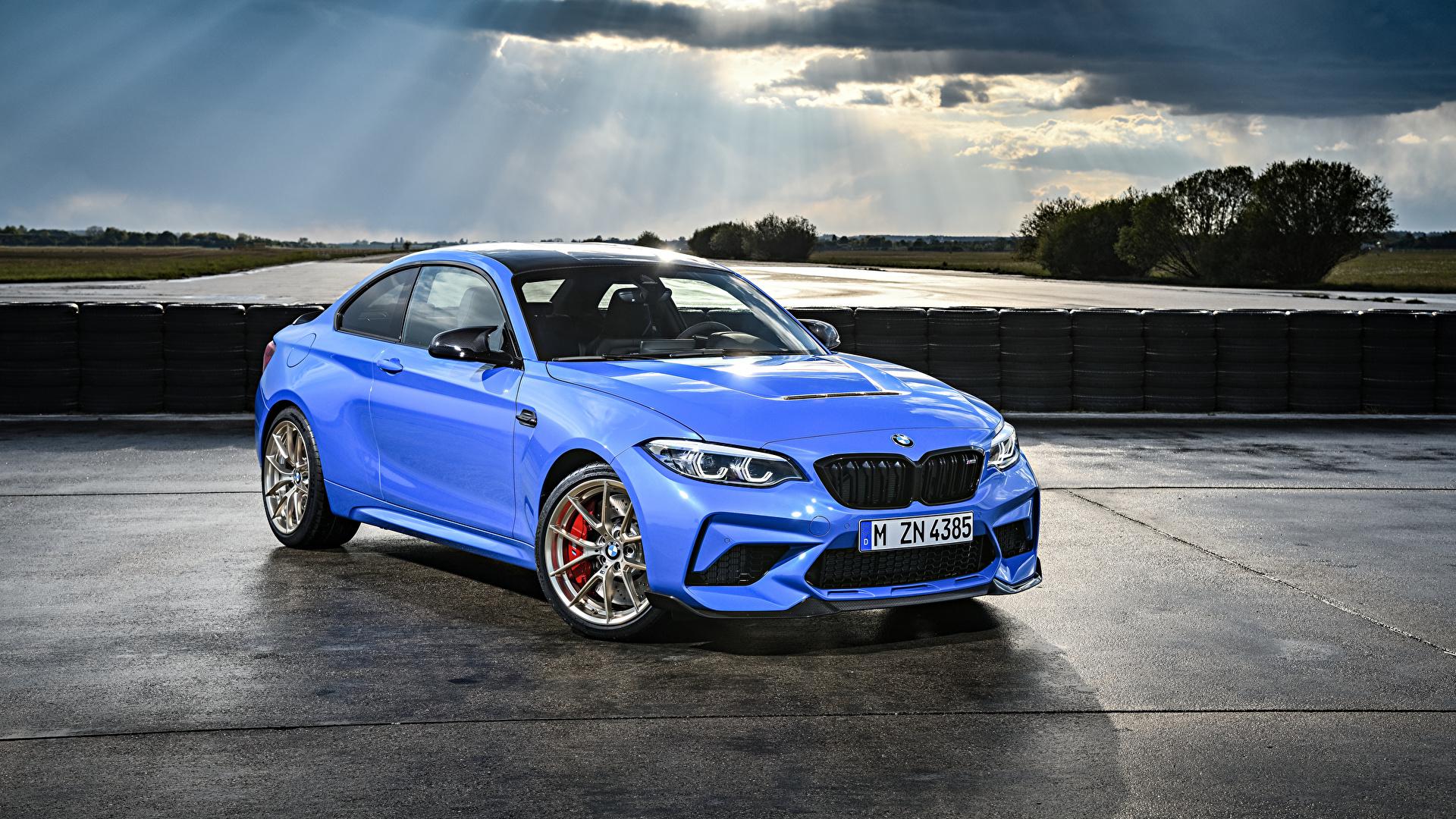 Фотография BMW 2019 M2 CS Worldwide голубая Металлик Автомобили 1920x1080 БМВ Голубой голубые голубых авто машины машина автомобиль