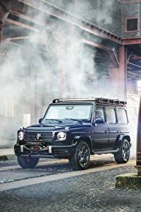 Картинки Мерседес бенц Brabus SUV Синие 2020 Brabus Invicto VR6 Plus ERV Mission автомобиль