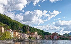 Фото Озеро Причалы Здания Италия Небо Porto Ceresio, lake Lugano, province of Varese город