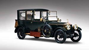 Картинка Роллс ройс Старинные Серый фон Зеленых 1915 Silver Ghost 40-50 Hamshaw Limousine машины