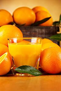 Фото Цитрусовые Апельсин Сок Стакан Продукты питания