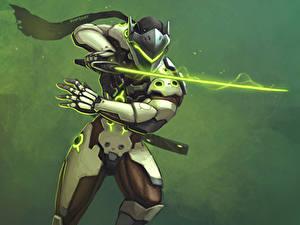 Картинки Овервотч Воин Доспехи Меча Genji Shimada Игры Фэнтези