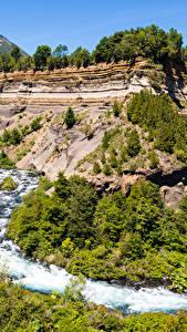 Картинки Чили Парки Речка Утес Conguillio National Park Природа