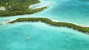 Фото Тропики Леса Море Залив Сверху Bahamas Природа